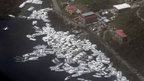 An aerial view shows yachts piled high after the 185 mph winds lashed Tortola.