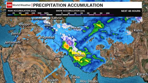 Middle East precipitation forecast over the next 48 hours