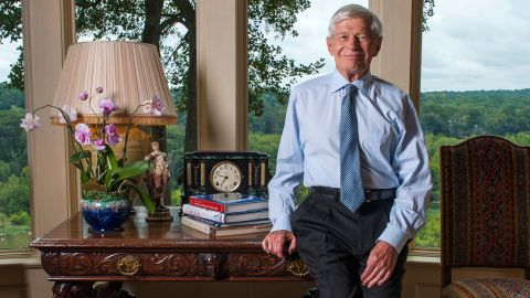 Businessman, green beret, , Republican political fundraiser and former head of Marriott International, Fred Malek poses in his home September 8, 2014 in McLean, VA.