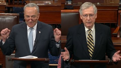 Schumer and McConnell on the Senate floor 3/25.