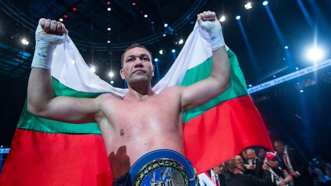 Kubrat Pulev of Bulgaria celebrates his victory over Dereck Chisora of Britain after their European Heavyweight Championship boxing match in Hamburg, Germany, 07 May 2016. Photo by: Lukas Schulze/picture-alliance/dpa/AP Images