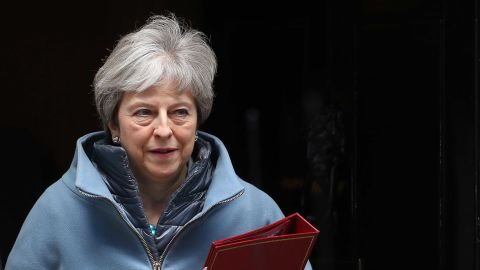 Britain's Prime Minister Theresa May leaves 10 Downing Street in London on March 25, 2019. - British Prime Minister Theresa May chaired a meeting of her cabinet amid reports of an attempted coup by colleagues over her handling of Brexit. (Photo by Isabel Infantes / AFP)        (Photo credit should read ISABEL INFANTES/AFP/Getty Images)