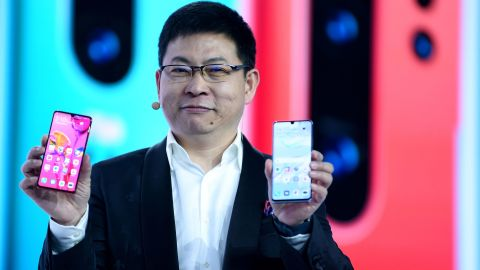 Chinese Telecom equipment company Huawei Consumer Products division CEO Richard Yu speaks on stage during the presentation the new P30 smart-phone, in Paris, on March 26, 2019. (Photo by ERIC PIERMONT / AFP)        (Photo credit should read ERIC PIERMONT/AFP/Getty Images)