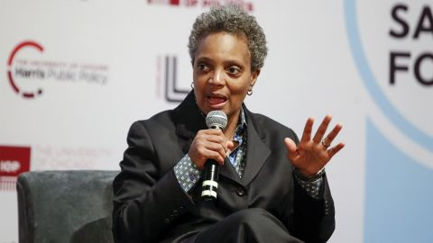 Chicago mayoral candidate Lori Lightfoot speaks during a forum on crime and violence at University of Chicago Institute of Politics, Harris School of Public Policy and Crime Lab in Chicago on March 13, 2019. (Photo by Kamil Krzaczynski / AFP)        (Photo credit should read KAMIL KRZACZYNSKI/AFP/Getty Images)