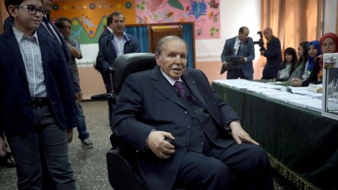 Algerian President Abdelaziz Bouteflika is seen on a wheelchair as he casts his vote at a polling station in Algiers on May 4, 2017 during parliamentary elections. Algerians voted for a new parliament amid soaring unemployment and a deep financial crisis caused by a collapse in oil revenues. (Photo by Billal Bensalem/NurPhoto via Getty Images)