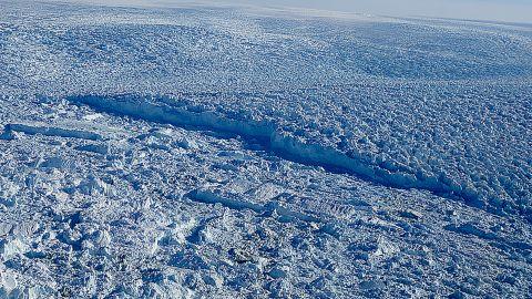 A close-up of the Jakobshavn glacier.