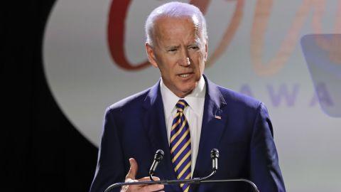 Former Vice President Joe Biden speaks at the Biden Courage Awards Tuesday, March 26, 2019, in New York. (AP/Frank Franklin II)
