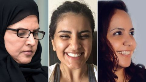 Saudi activists on trial, from left to right: Aziza al-Yousef, Loujain al-Hathloul, Eman al-Nafjan