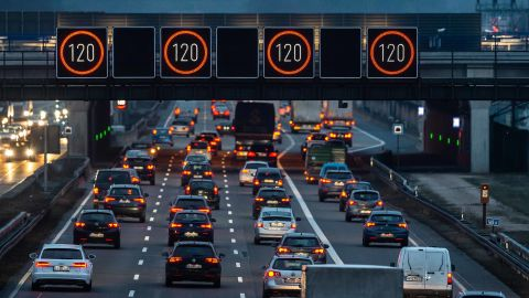 22 January 2019, Hessen, Frankfurt/Main: Illuminated panels indicate a speed limit of 120 kilometres per hour above the A3 motorway near Frankfurt Airport. Photo: Silas Stein/dpa (Photo by Silas Stein/picture alliance via Getty Images)