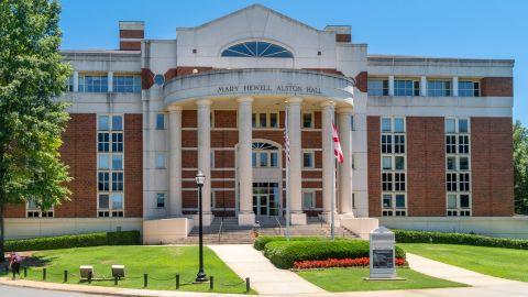 Mary Hewll Alston Hall on the campus of University of Alabama.