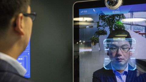 Xu Li, CEO of SenseTime, identified by the company's facial recognitionsystem at a showroom in Beijing. SenseTime's image-identifying algorithms have made it the world's most valuable AI startup.