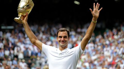 Roger Federer won his eighth Wimbledon crown in 2017, beating Marin Cilic in straight sets.