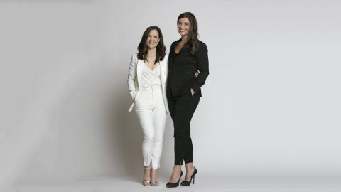 The Groomsman Suit founders, Jeanne Foley [left] and Diana Ganz, wearing tuxedos from their upcoming women's collection.