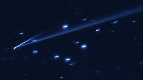 The asteroid 6478 Gault is seen with two tails indicating its self-destruction.