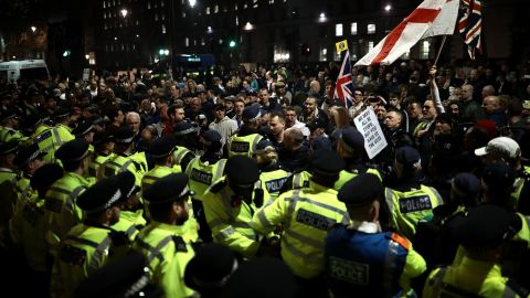 Police and demonstrators clashed during pro-Brexit protests.