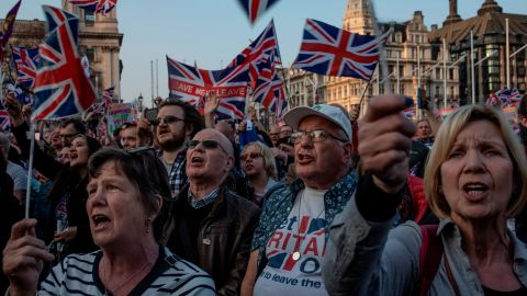 Crowds gathered to listen to pro-Brexit politician Nigel Farage in Parliament Square.