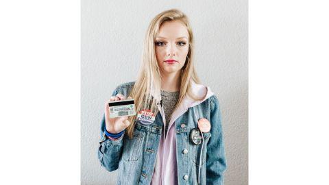 Kaylee Tyner displays the #MyLastShot sticker on the back of her ID.