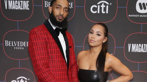 Nipsey Hussle and Lauren London attend the Warner Music Pre-Grammy Party at the NoMad Hotel on February 7, 2019 in Los Angeles, California.
