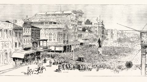"""An artist's sketch depicts the mob that gathered in New Orleans in 1891 to """"avenge"""" the police commissioner's murder."""