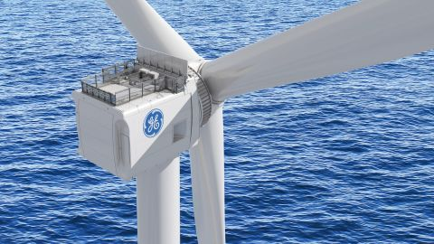An illustration shows the GE Haliade-X offshore wind turbine