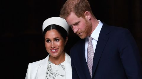 Britain's Prince Harry, Duke of Sussex (R) and Meghan, Duchess of Sussex leave after attending a Commonwealth Day Service at Westminster Abbey in central London, on March 11, 2019. - Britain's Queen Elizabeth II has been the Head of the Commonwealth throughout her reign. Organised by the Royal Commonwealth Society, the Service is the largest annual inter-faith gathering in the United Kingdom. (Photo by Ben STANSALL / AFP)        (Photo credit should read BEN STANSALL/AFP/Getty Images)