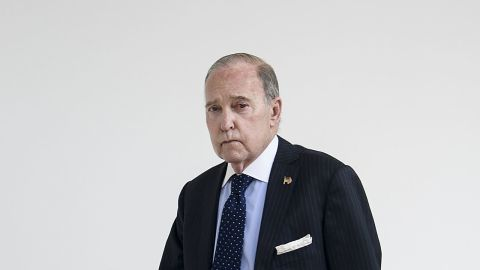 """Director of the National Economic Council Larry Kudlow walks outside the West Wing of the White House March 25, 2019 in Washington, DC. - US President Donald Trump on Monday signed a proclamation recognizing Israeli sovereignty over the disputed Golan Heights, a border area seized from Syria in 1967. """"This was a long time in the making,"""" Trump said alongside Israeli Prime Minister Benjamin Netanyahu in the White House. US recognition for Israeli control over the territory breaks with decades of international consensus. (Photo by Brendan Smialowski / AFP)        (Photo credit should read BRENDAN SMIALOWSKI/AFP/Getty Images)"""