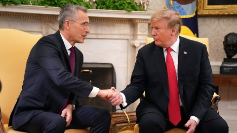 NATO Secretary General Jens Stoltenberg and US President Donald Trump shake hands in the Oval Office at the White House April 02, 2019 in Washington, DC.