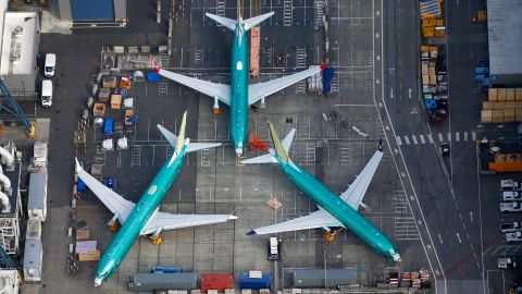 An aerial photo shows Boeing 737 MAX airplanes parked on the tarmac at the Boeing Factory in Renton, Washington, U.S. March 21, 2019.  REUTERS/Lindsey Wasson