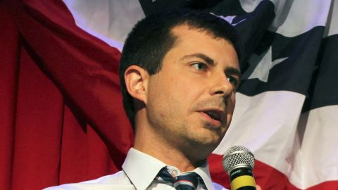 """(FILES) In this file photo taken on September 26, 2016 Sound Bend Indiana Mayor Peter Buttigieg talks about Republican Vice-presidential candidate Mike Pence in front of potential voters at a Hillary Clinton debate watching party for the LGBT community in Chicago, Illinois. - He is a longshot candidate, but South Bend Mayor Pete Buttigieg said January 23, 2019 he is jumping into the burgeoning 2020 Democratic field challenging Donald Trump, aiming to become the first openly gay presidential nominee. Should he win, the 37-year-old wunderkind, a US Navy reservist who took leave from his mayoral duties to serve in Afghanistan, would also be America's youngest-ever commander in chief. Buttigieg announced that he has formed a presidential exploratory committee, a key opening step to formally launching a bid. (Photo by DEREK HENKLE / AFP) / ALTERNATIVE CROP  TO GO WITH AFP STORY """"Buttigieg enters 2020 race, would be 1st openly gay nominee""""        (Photo credit should read DEREK HENKLE/AFP/Getty Images)"""