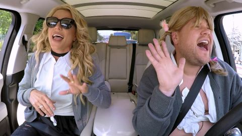 """Spears joins late-night talk show host James Corden for some """"carpool karaoke"""" in 2016."""