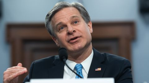 FBI Director Christopher Wray testifies during a US House Commerce, Justice, Science, and Related Agencies Subcommittee hearing on the FBI's Budget Request for Fiscal Year 2020, on Capitol Hill in Washington, DC, April 4, 2019. (Photo by SAUL LOEB / AFP)        (Photo credit should read SAUL LOEB/AFP/Getty Images)
