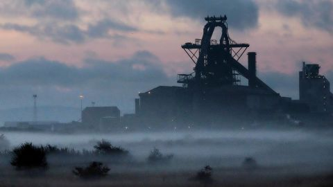 REDCAR, ENGLAND - SEPTEMBER 29:  Dawn breaks over the blast furnace at the SSI UK steel plant on September 29, 2015 in Redcar, England. Following the announcement that SSI UK are mothballing the plant and ceasing steel production 1700 jobs at the Teesside site have been lost.  (Photo by Ian Forsyth/Getty Images)
