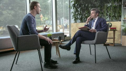 GOOD MORNING AMERICA - Chief Anchor George Stephanopoulos sits down exclusively with Facebook CEO Mark Zuckerberg. The interview will air on Good Morning America, Thursday, April 4, 2019.  Good Morning America airs Monday- Friday, 7am-9am, ET on ABC.    (Peter DaSilva/ABC via Getty Images)  MARK ZUCKERBERG, GEORGE STEPHANOPOULOS
