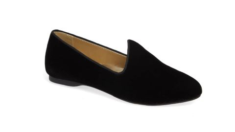 """<strong>The Heron Slipper, Black Velvet ($120; </strong><a href=""""https://click.linksynergy.com/deeplink?id=Fr/49/7rhGg&mid=1237&u1=0405birdies&murl=https%3A%2F%2Fshop.nordstrom.com%2Fs%2Fbirdies-the-heron-slipper-women%2F5105385%3Forigin%3Dcategory-personalizedsort%26breadcrumb%3DHome%252FWomen%252FShoes%252FSlippers%26color%3Dolive%2520velvet"""" target=""""_blank"""" target=""""_blank""""><strong>nordstrom.com</strong></a><strong>)</strong>"""