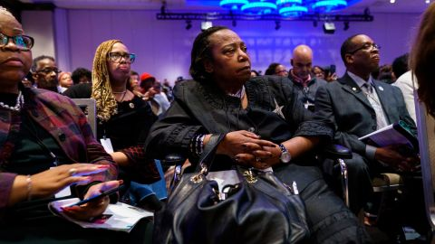 Attendees listen to speakers at the National Action Network's annual convention, April 3, 2019 in New York City.
