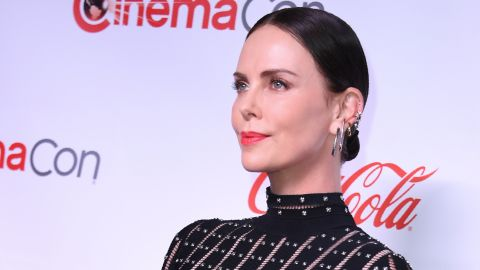 """CinemaCon Comedy Stars of the Year Award for """"Long Shot"""" co-recipient actress Charlize Theron arrives for the 2019 Big Screen Achievement Awards at the Omia nightclub at Caesars Palace in Las Vegas on April 4, 2019. (Photo by VALERIE MACON / AFP)        (Photo credit should read VALERIE MACON/AFP/Getty Images)"""