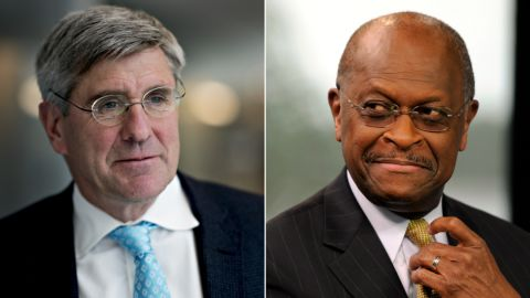 Former Trump campaign adviser Stephen Moore (left) recently called for the Fed to immediately slash interest rates. Herman Cain (right) previously pushed for the United States to return to the gold standard.