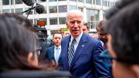 Former Vice President Joe Biden  speaks to the media at the International Brotherhood of Electrical Workers Construction and Maintenance conference on April 05, 2019 in Washington, DC. (Tasos Katopodis/Getty Images)