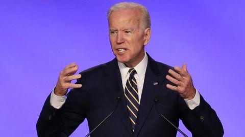 Former Vice President Joe Biden speaks at the IBEW Construction and Maintenance Conference in Washington, Friday, April 5, 2019. (AP/Manuel Balce Ceneta)