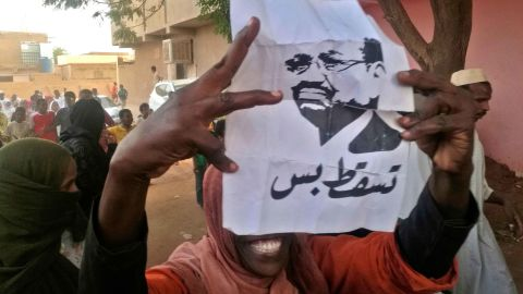 """A protester carries a Bashir portrait on February 8. It reads, """"Down and that is all."""""""