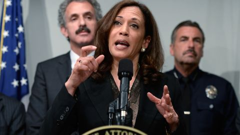 California Attorney General Kamala Harris speaks at a news conference on May 17, 2013 at the Los Angeles Civic Center in Los Angeles, California.