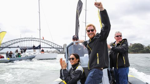 Meghan and Harry cheer on sailors during the Invictus Games in Australia in October 2018.