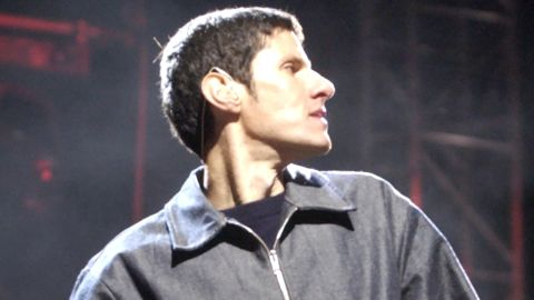 The Beastie Boys' Mike D performs at the 2003 Coachella Valley Music and Arts Festival in Indio, California.