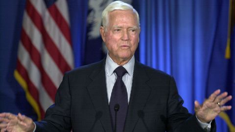 """Sen. Ernest """"Fritz"""" Hollings, D-S.C., gestures as he announces that he that will not seek re-election, during a news conference, Monday, Aug. 4, 2003, in Columbia, S.C. Hollings was first elected to the Senate in 1966 (AP Photo/Mary Ann Chastain)"""