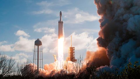 The SpaceX Falcon Heavy launches from Pad 39A at the Kennedy Space Center in Florida, on February 6, 2018.