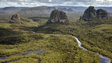 Aerial view of the Serrania de Chiribiquete, located in the Amazonian jungle departments of Caqueta and Guaviare, Colombia, on June 7, 2018. - The 2,782,353-hectare Chiribiquete National Park, the largest of Colombia's protected natural parks, is included on the list of 30 proposals from around the world that will be examined at the forty-second session of the UNESCO World Heritage Committee in late June. The Serranias of Chiribiquete and La Lindosa are among the areas in Colombia that were closed to outsiders during the armed conflict and are now opening up to scientific researchers. (Photo by GUILLERMO LEGARIA / AFP)        (Photo credit should read GUILLERMO LEGARIA/AFP/Getty Images)