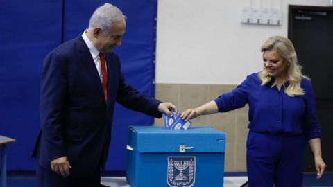 """The Netanyahus cast their votes during Israel's parliamentary elections in April 2019. The election <a href=""""https://edition.cnn.com/2019/04/09/middleeast/israel-elections-explainer-intl/index.html"""" target=""""_blank"""">was seen as a referendum</a> on Netanyahu's long tenure as prime minister."""