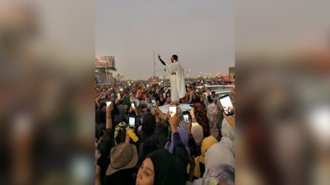 This photo of a woman chanting during a protest in Sudan's capital Khartoum on April 8 has gone viral on social media.