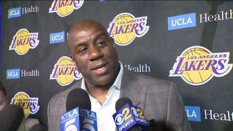 Magic Johnson steps down as Lakers president of basketball operations on Tuesday, April 4, 2019.