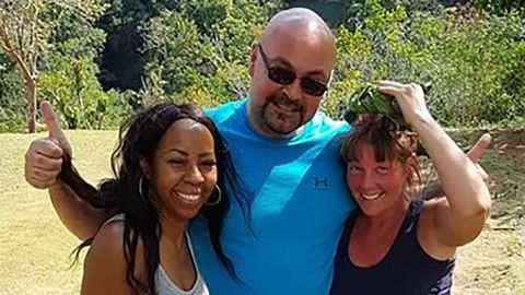 Portia Ravenelle, left, went sightseeing with Canadians Carter Warrington, center, and Cheryl Freeman, right.